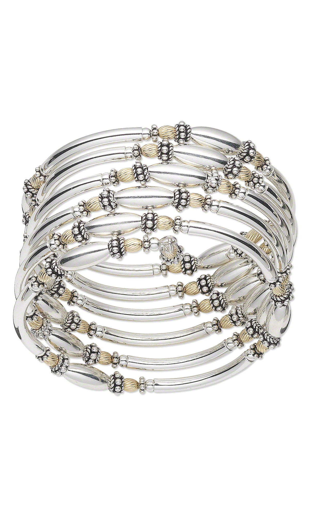 Jewelry Design - Bracelet with Sterling Silver Beads and Memory Wire ...