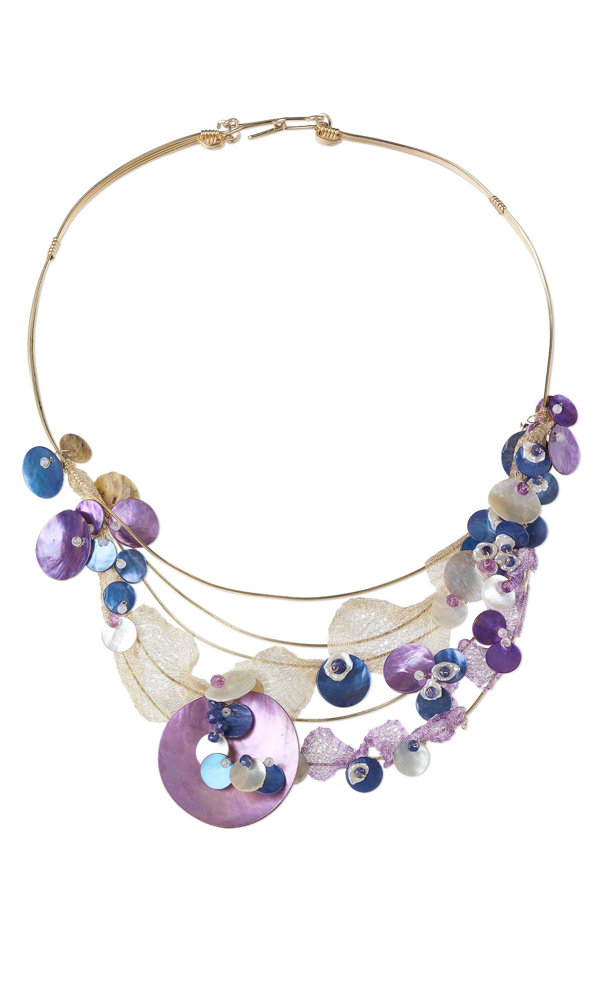 single strand necklace with mussel shell drops rainbow moonstone gemstone beads and amethyst gemstone beads - Necklace Design Ideas