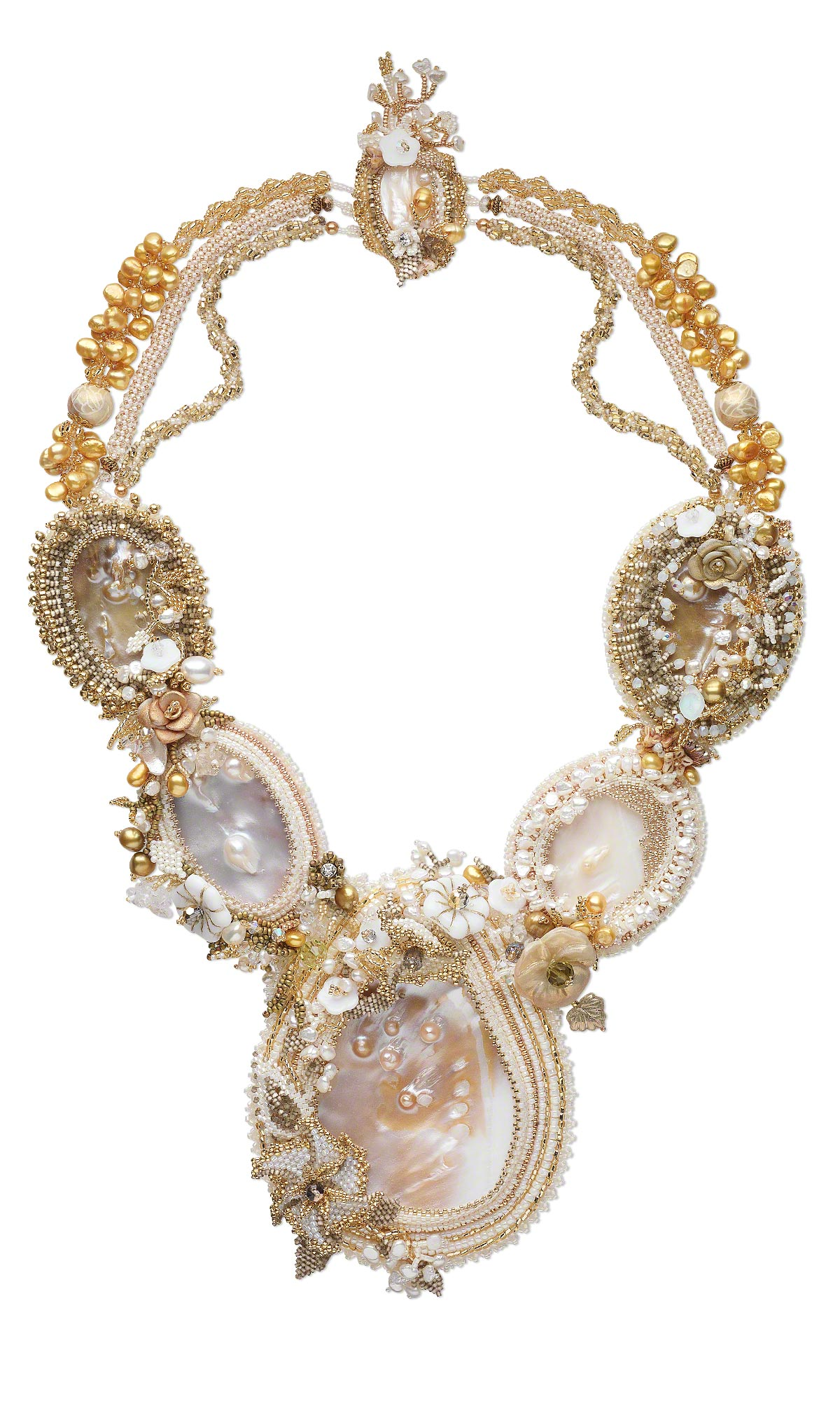 Jewelry Design Bib Style Necklace With Mother Of Pearl