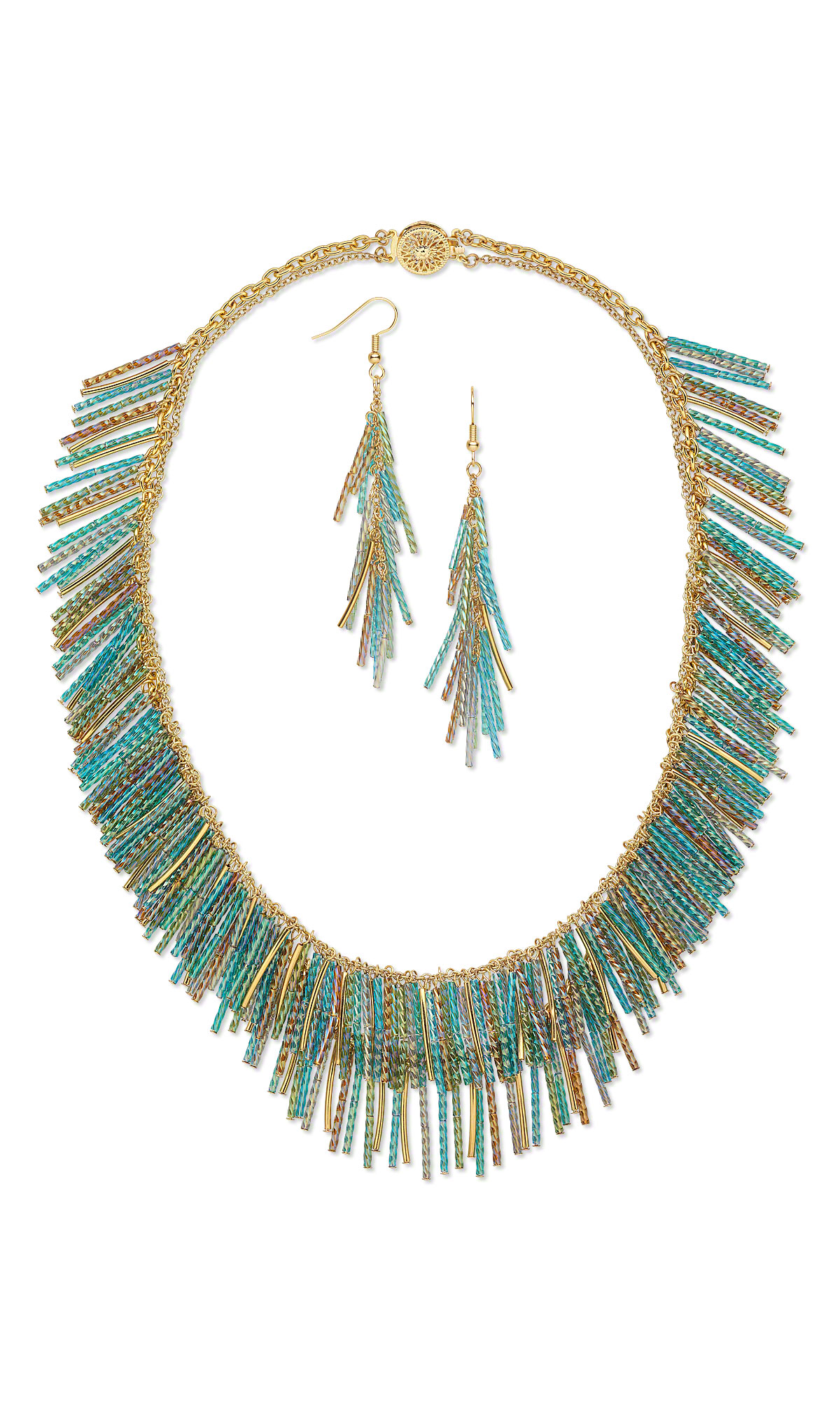 Collar Style Necklace And Earring Set With Bugle Beads