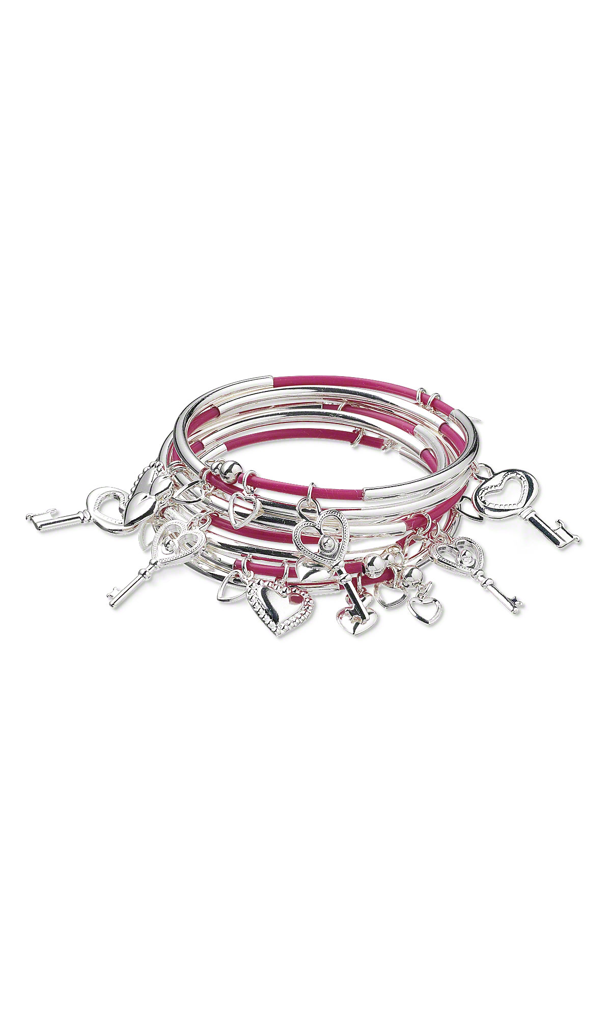 Jewelry Design - Memory Wire Bracelet with Silver-Plated Charms and ...