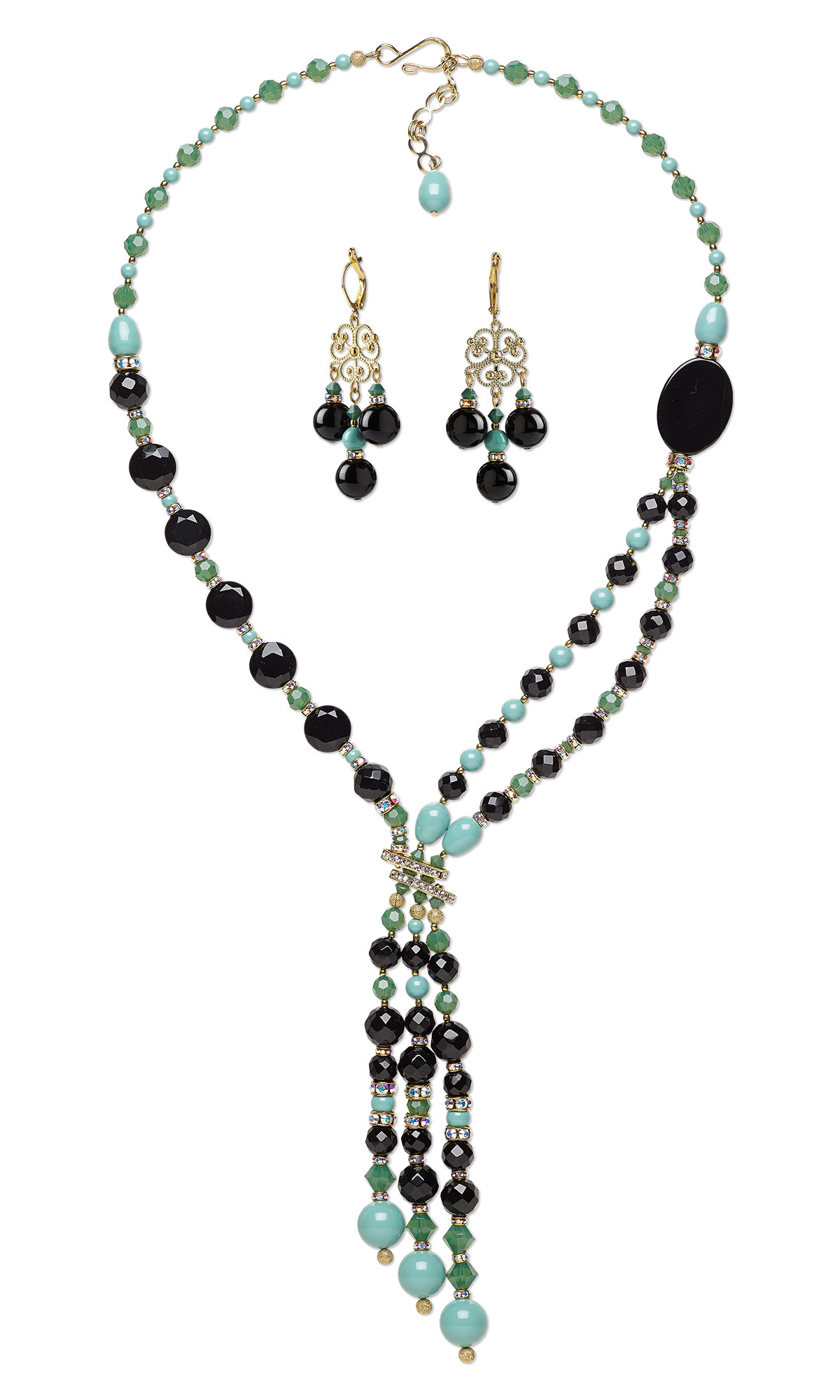 Jewelry Design Double Strand Necklace And Earring Set