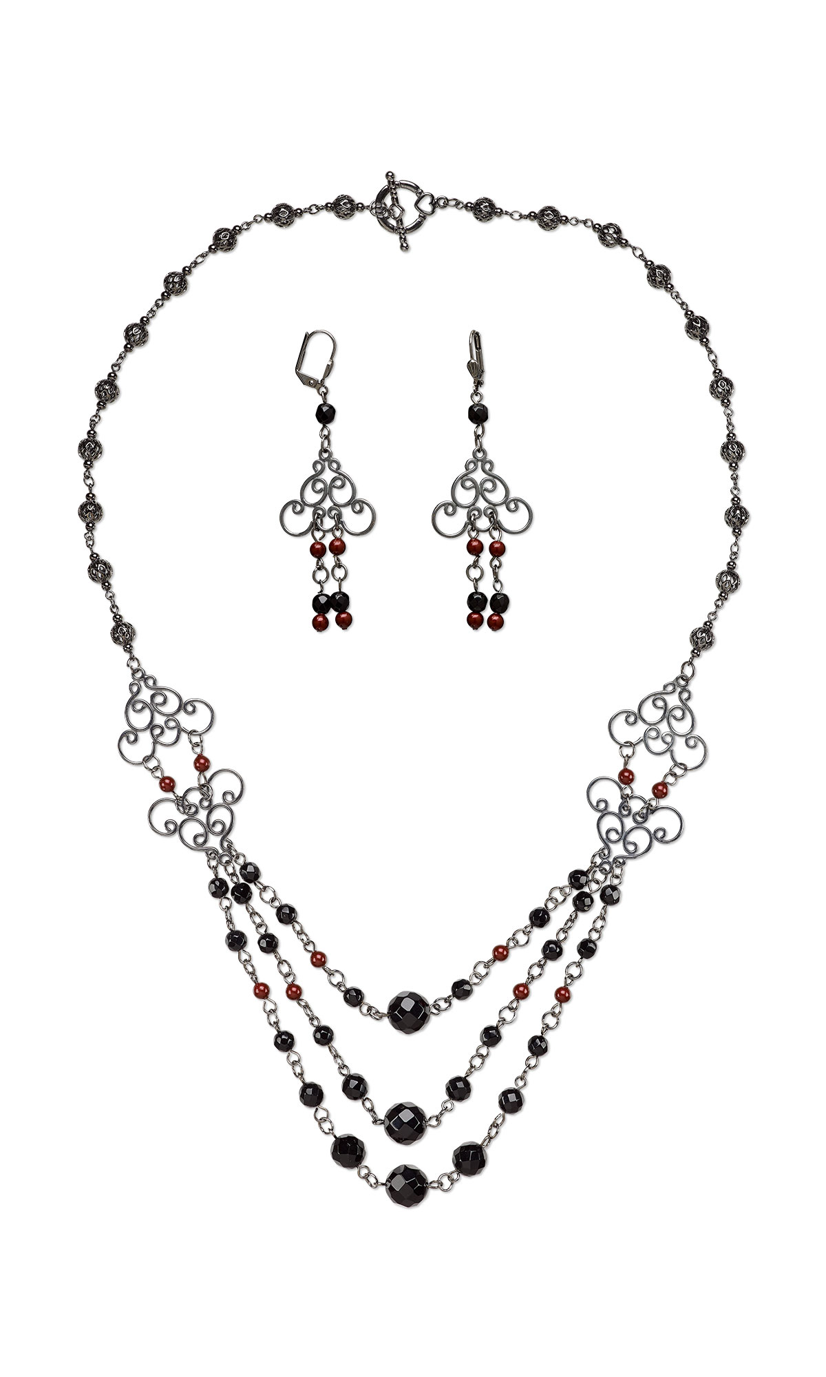 Jewelry Design - Triple-Strand Necklace and Earring Set with Black ...