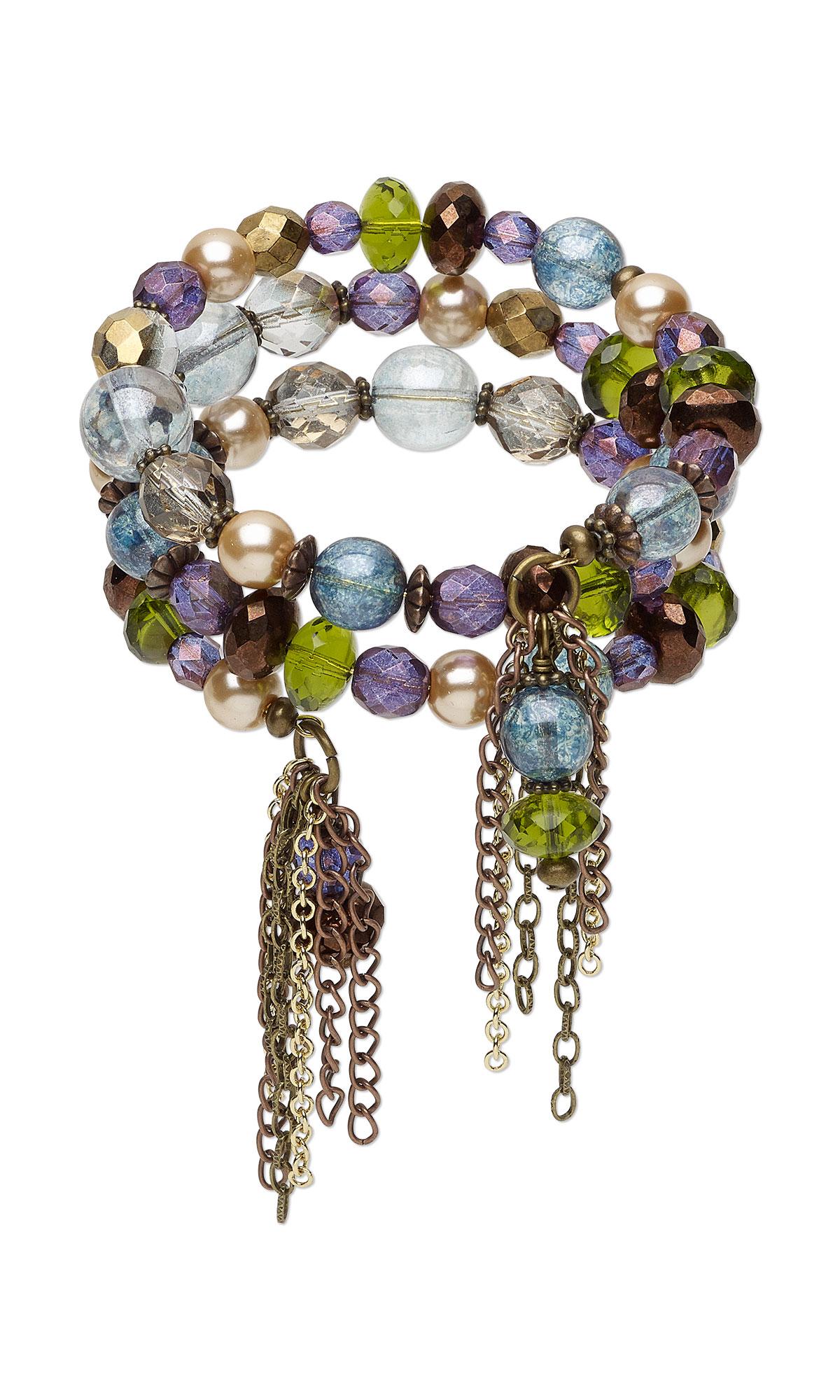 Jewelry Design - Memory Wire Bracelet with Czech Glass Beads ...