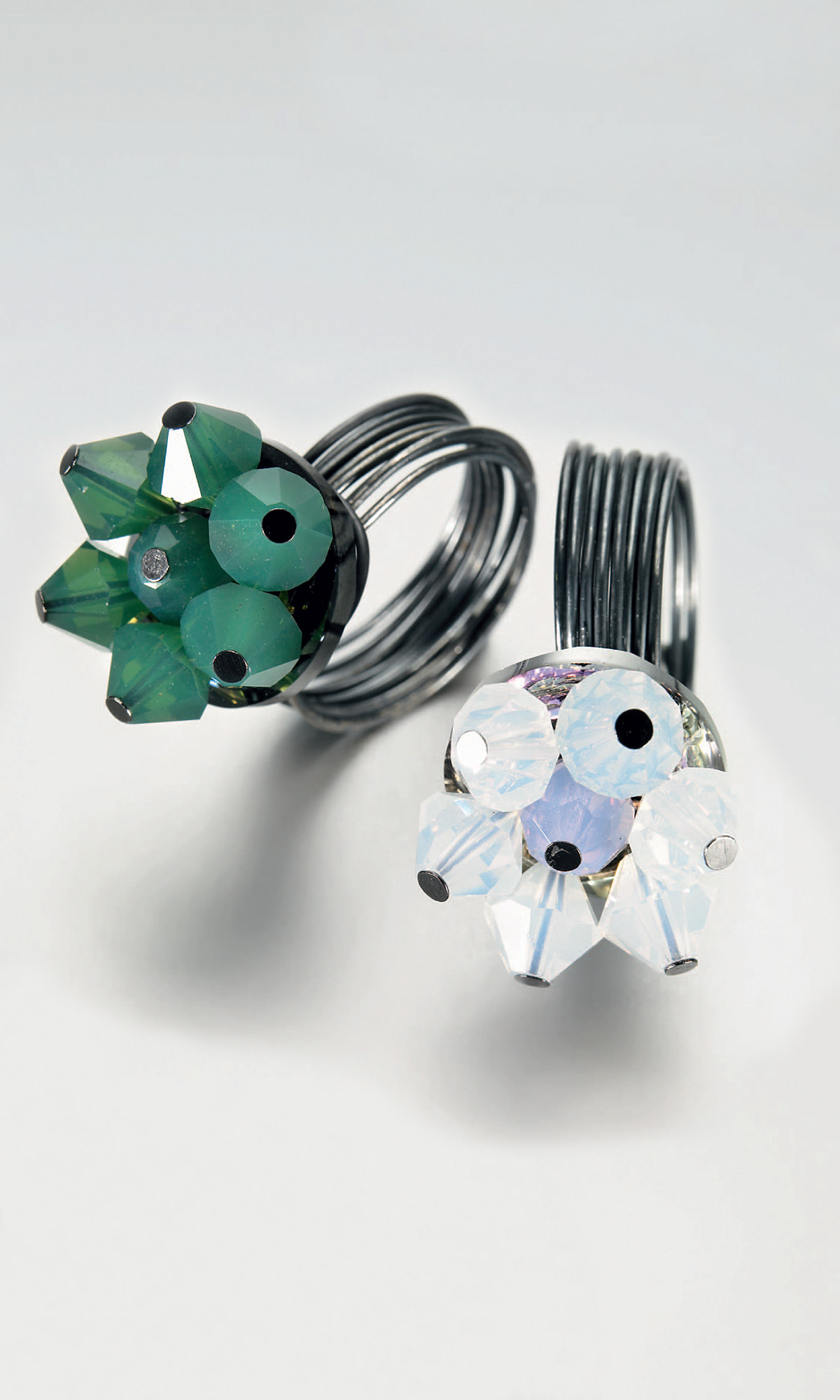 Jewelry Design - Rings with Swarovski Crystal Beads and Wire Wrap ...