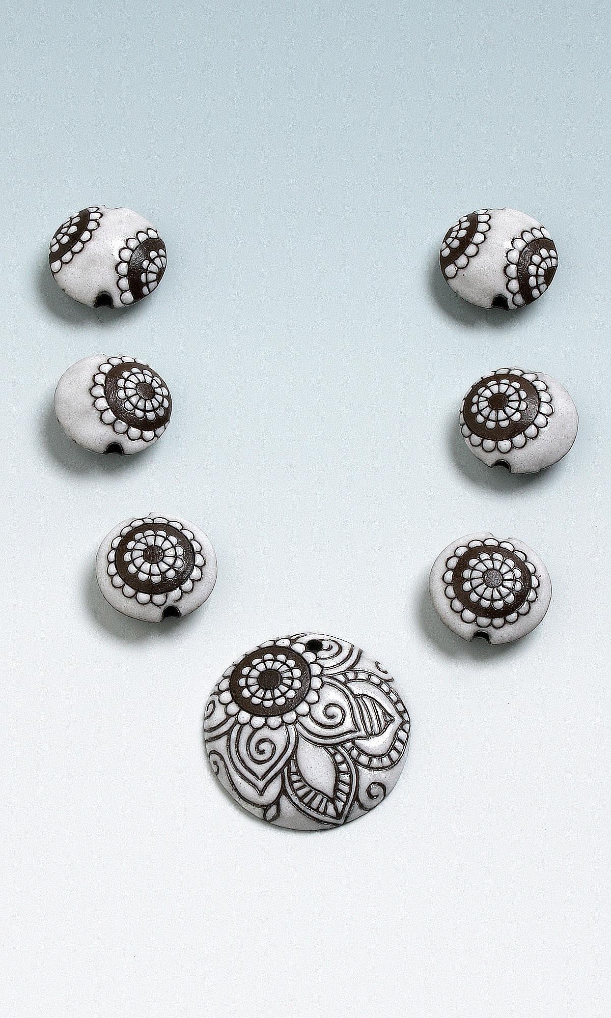 jewelry design handmade ceramic beads and focal set