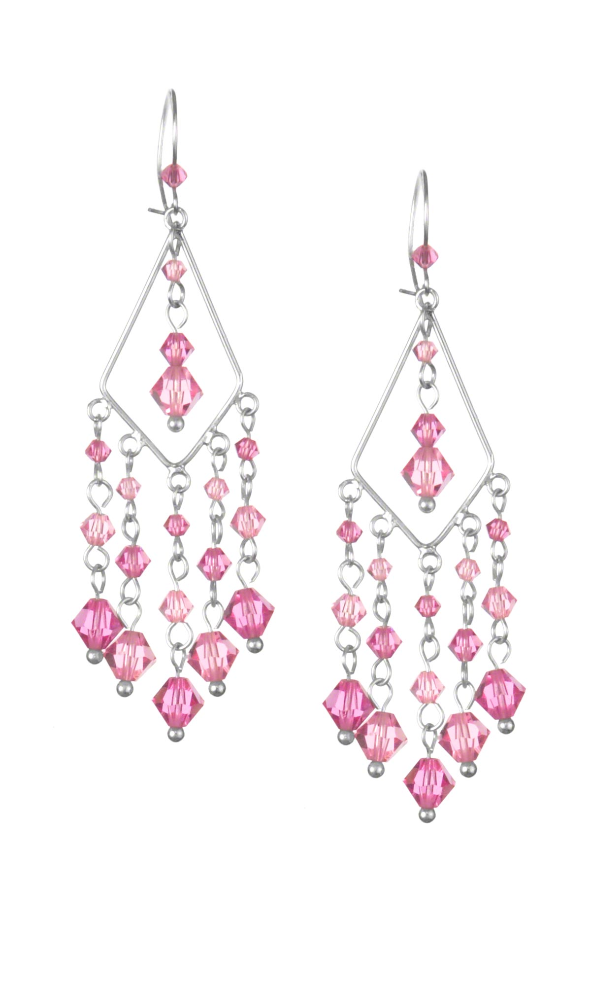 Earrings With Pink Swarovski Crystal Beads And Diamond Shaped Sterling Silver Drop Loops