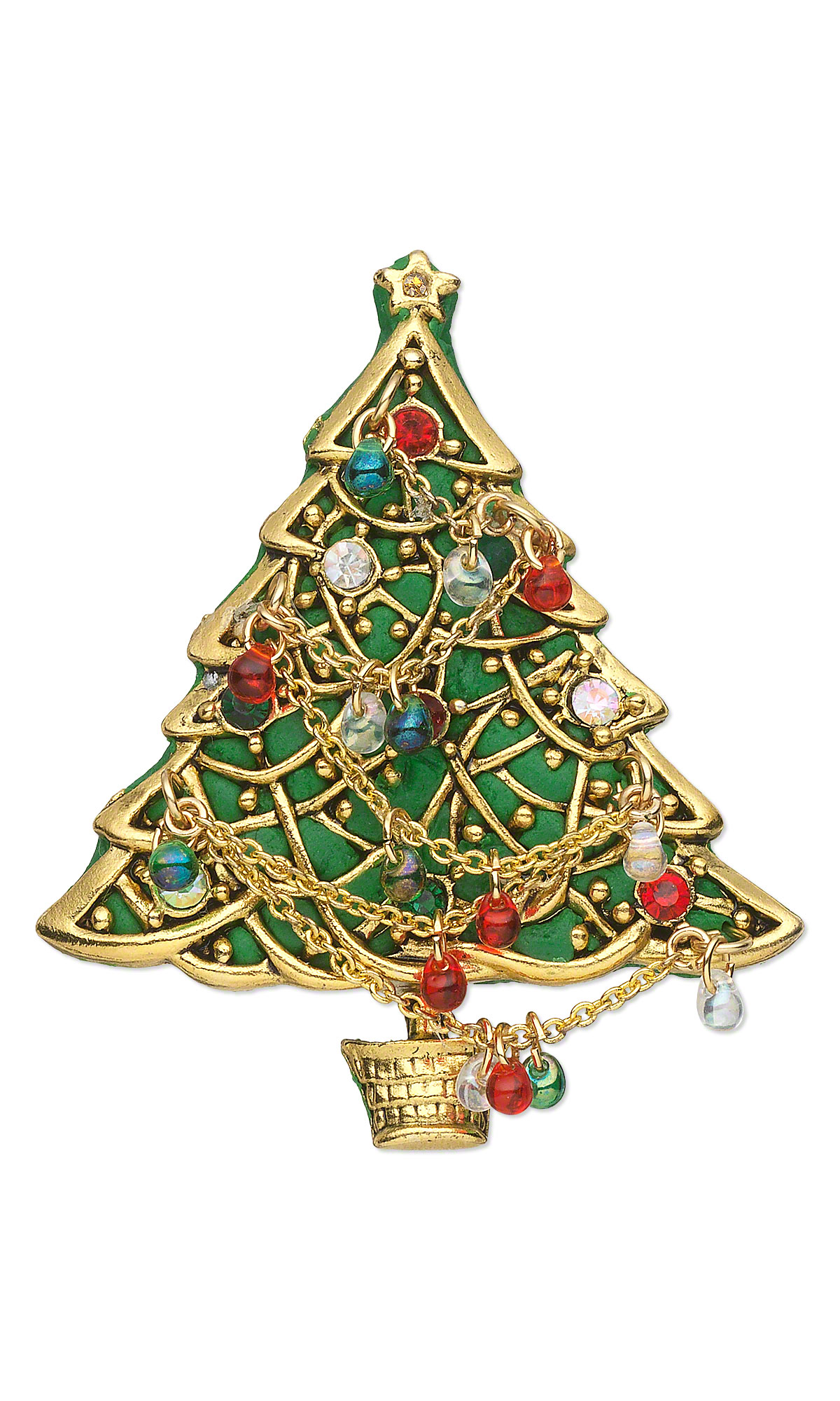 Jewelry Design - Brooch with Antiqued Gold \'\'Pewter\'\' Christmas Tree ...