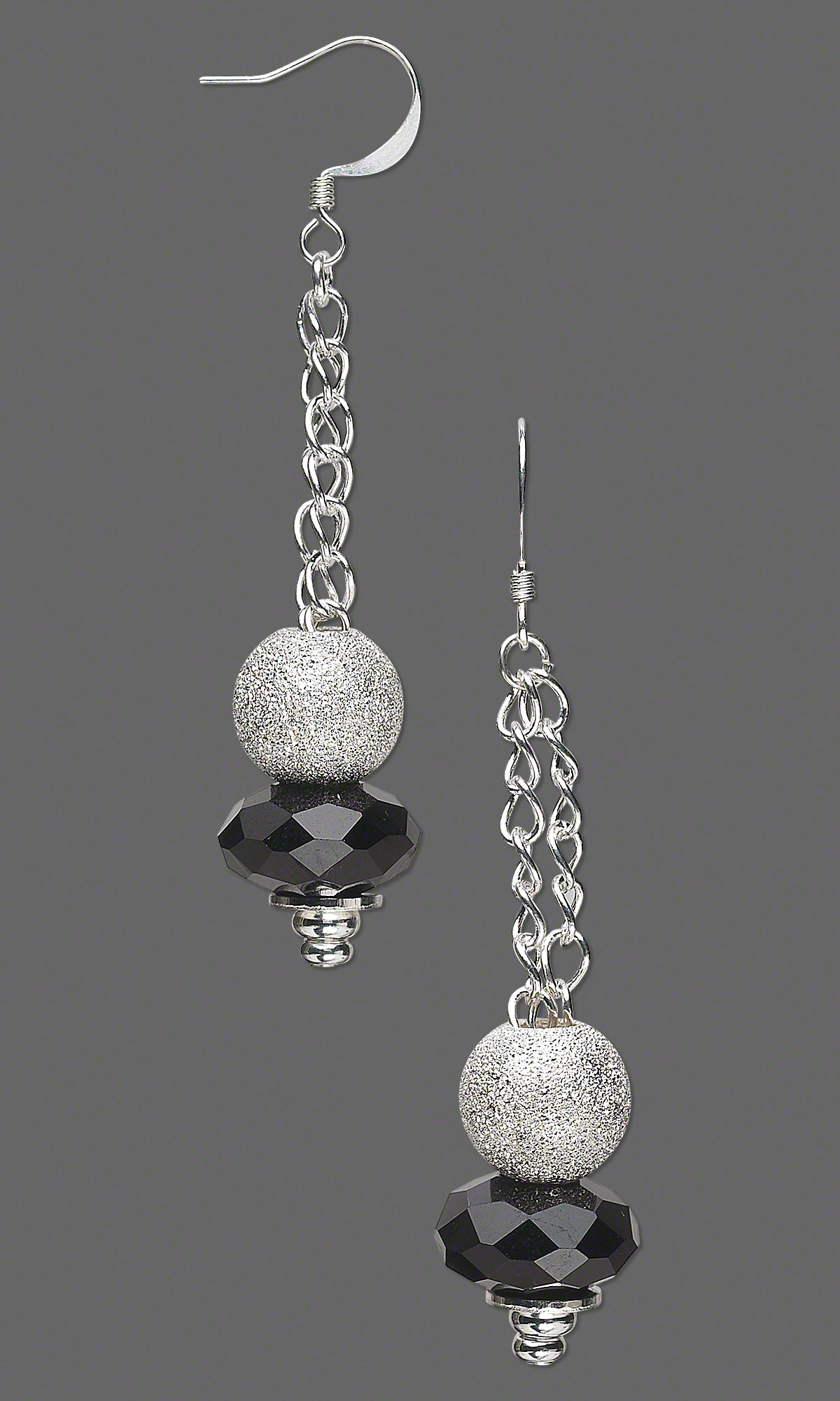 Jewelry Design Earrings with Dione Glass Beads SilverPlated