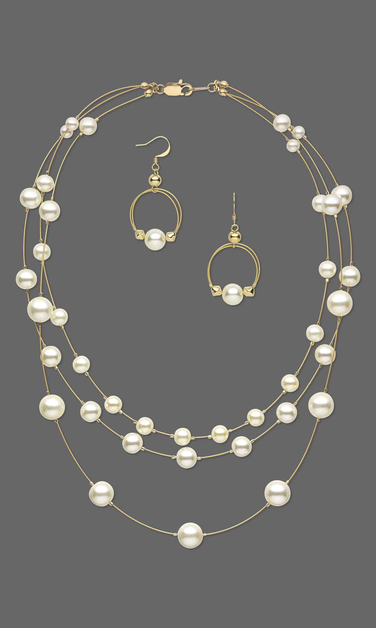 Jewelry Design Triple Strand Necklace And Earring Set