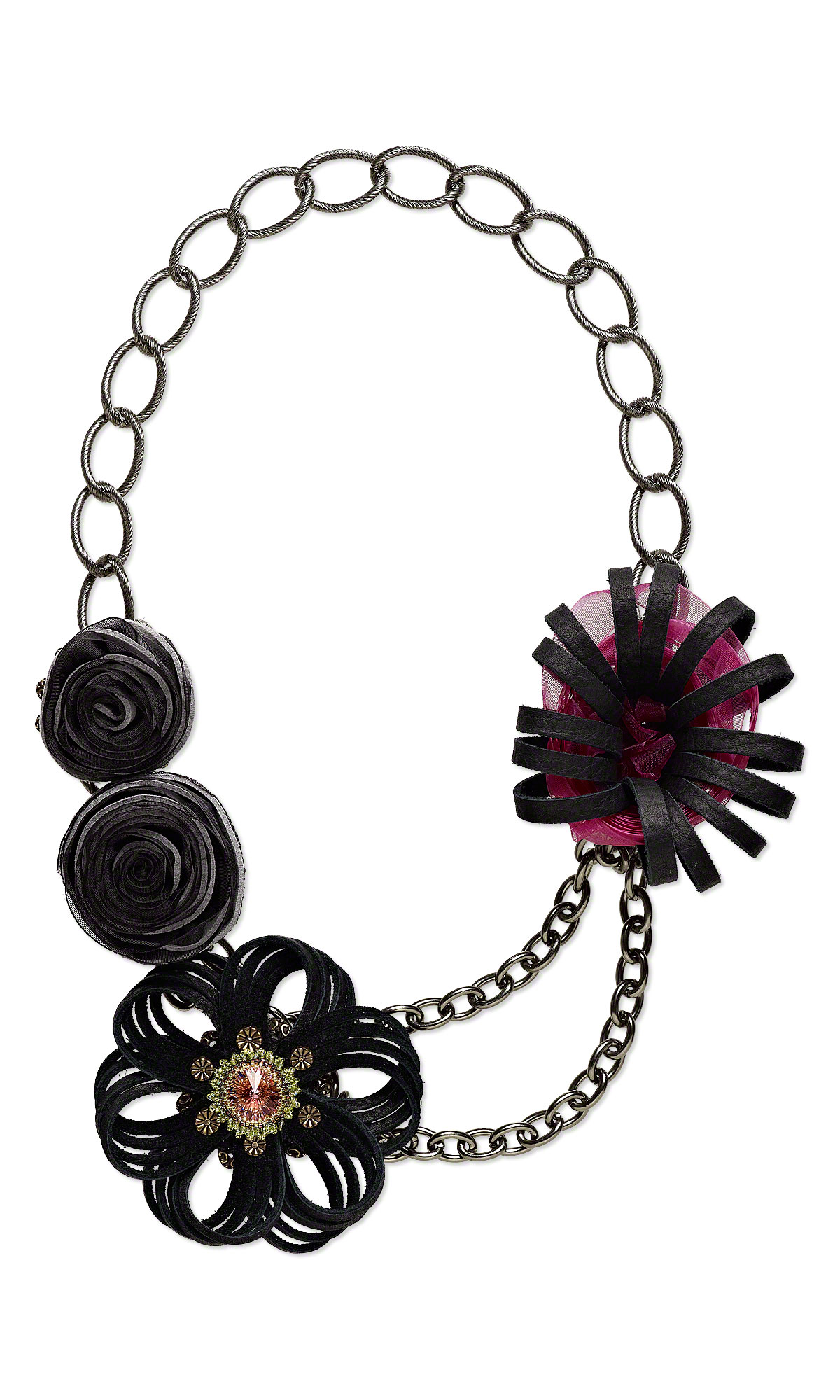 Jewelry Design - Double-Strand Necklace with Leather, Swarovski ...