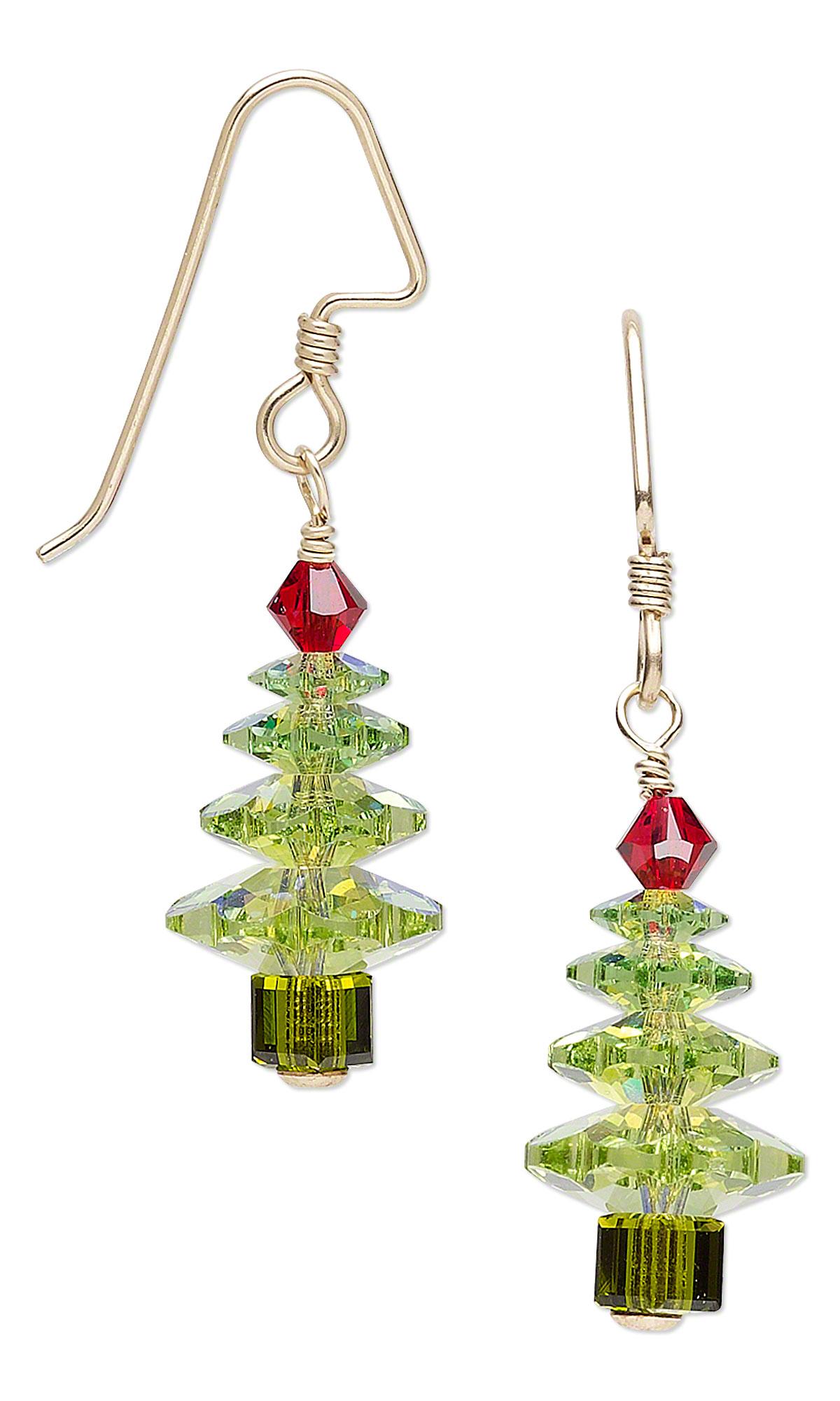 Jewelry design christmas tree earrings with swarovski
