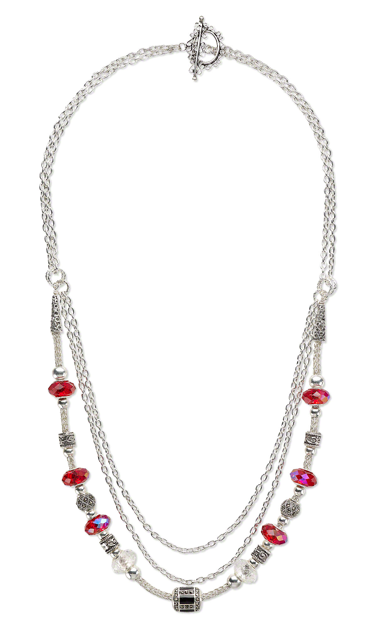 Jewelry Design - Triple-Strand Necklace with Dione® Large-Hole Beads ...