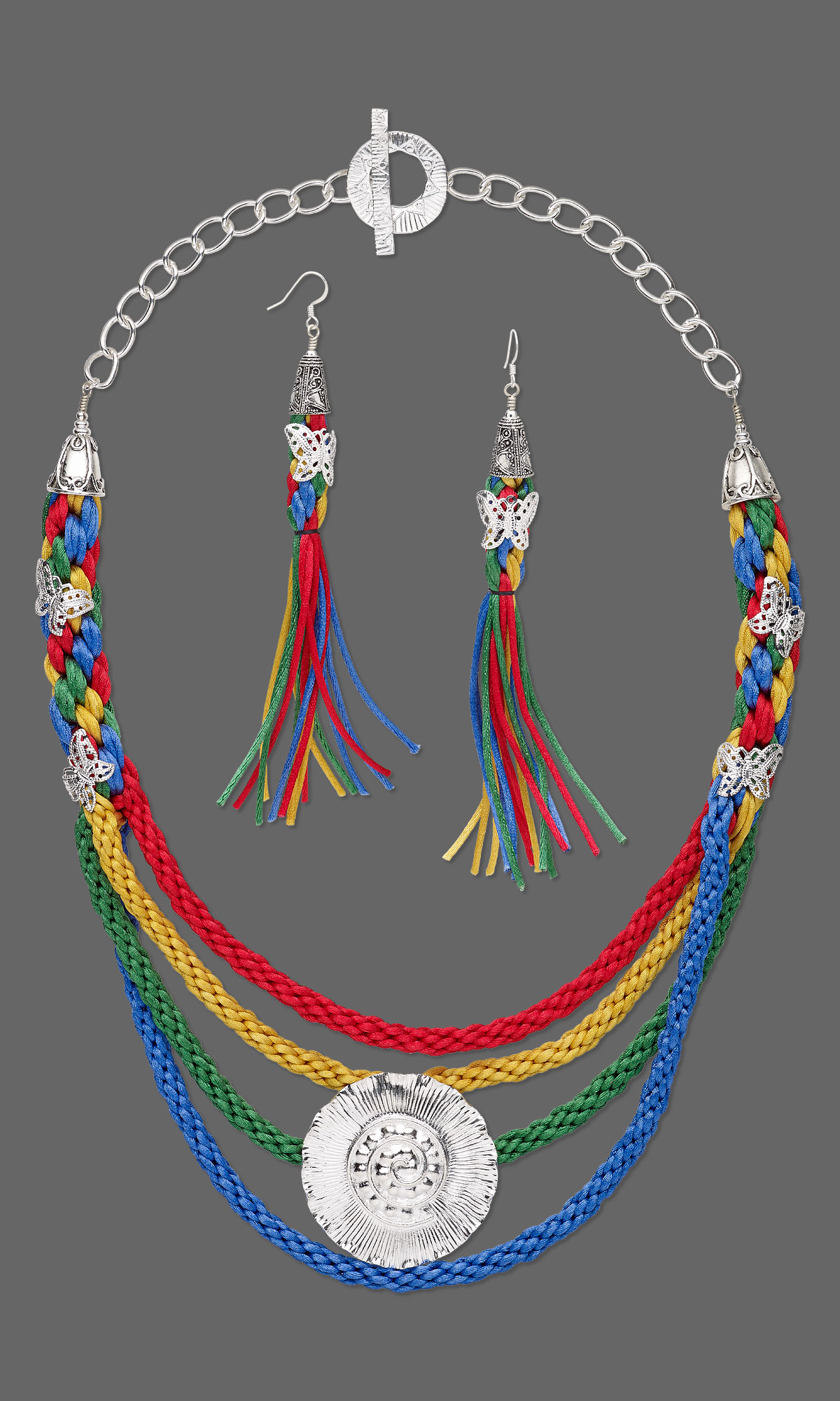 Jewelry Design Multi Strand Necklace With Kumihimo Mousetail Cord