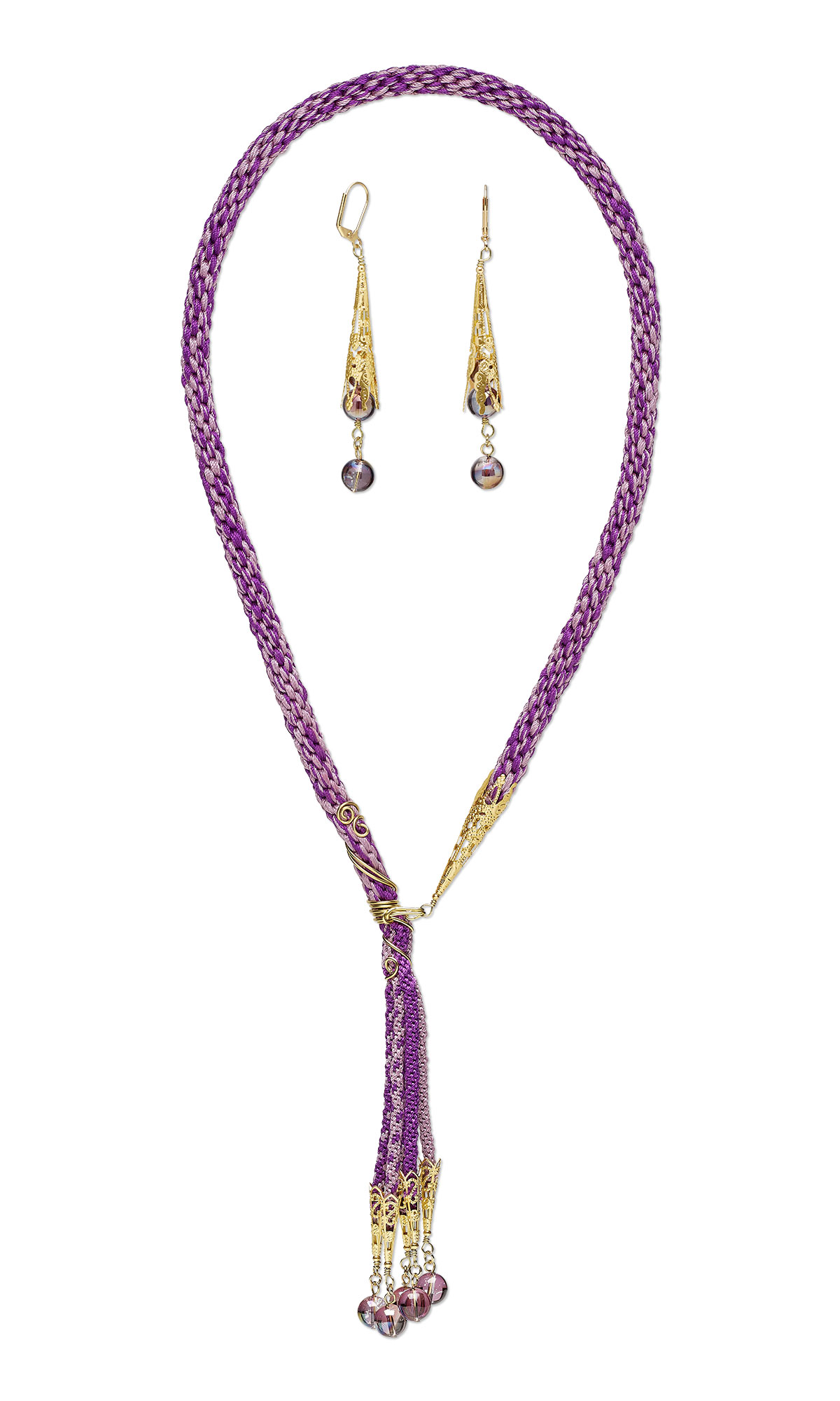 Jewelry Design - Lariat-Style Necklace and Earring Set with Kumihimo ...
