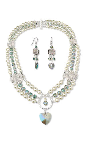 Jewelry Design - Triple-Strand Necklace and Earring Set with Celestial Crystal® Beads and Imitation Rhodium-Finished Pewter and Egyptian Glass Rhinestone Spacer Bars and Beads