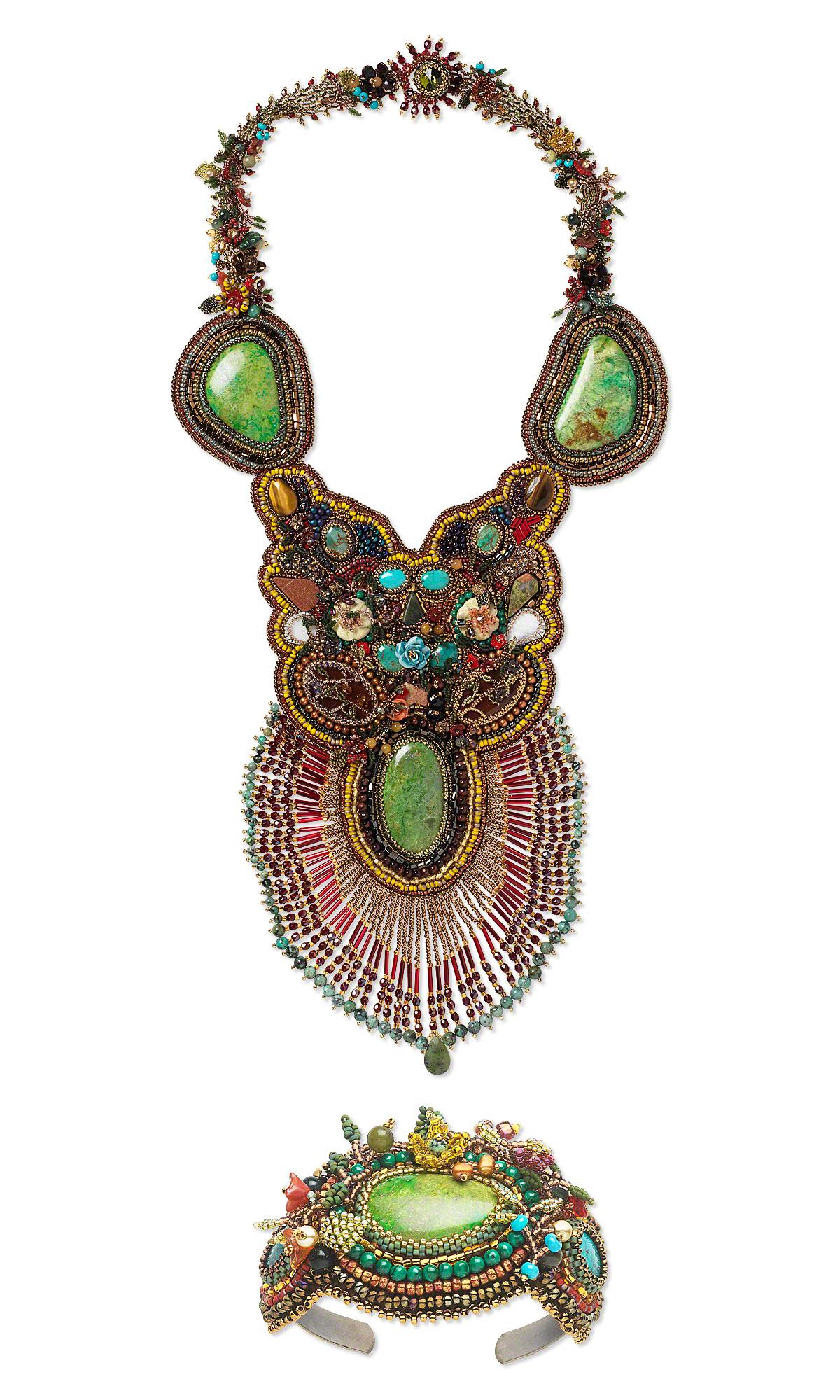 jewelry design bib style necklace and bracelet cuff set