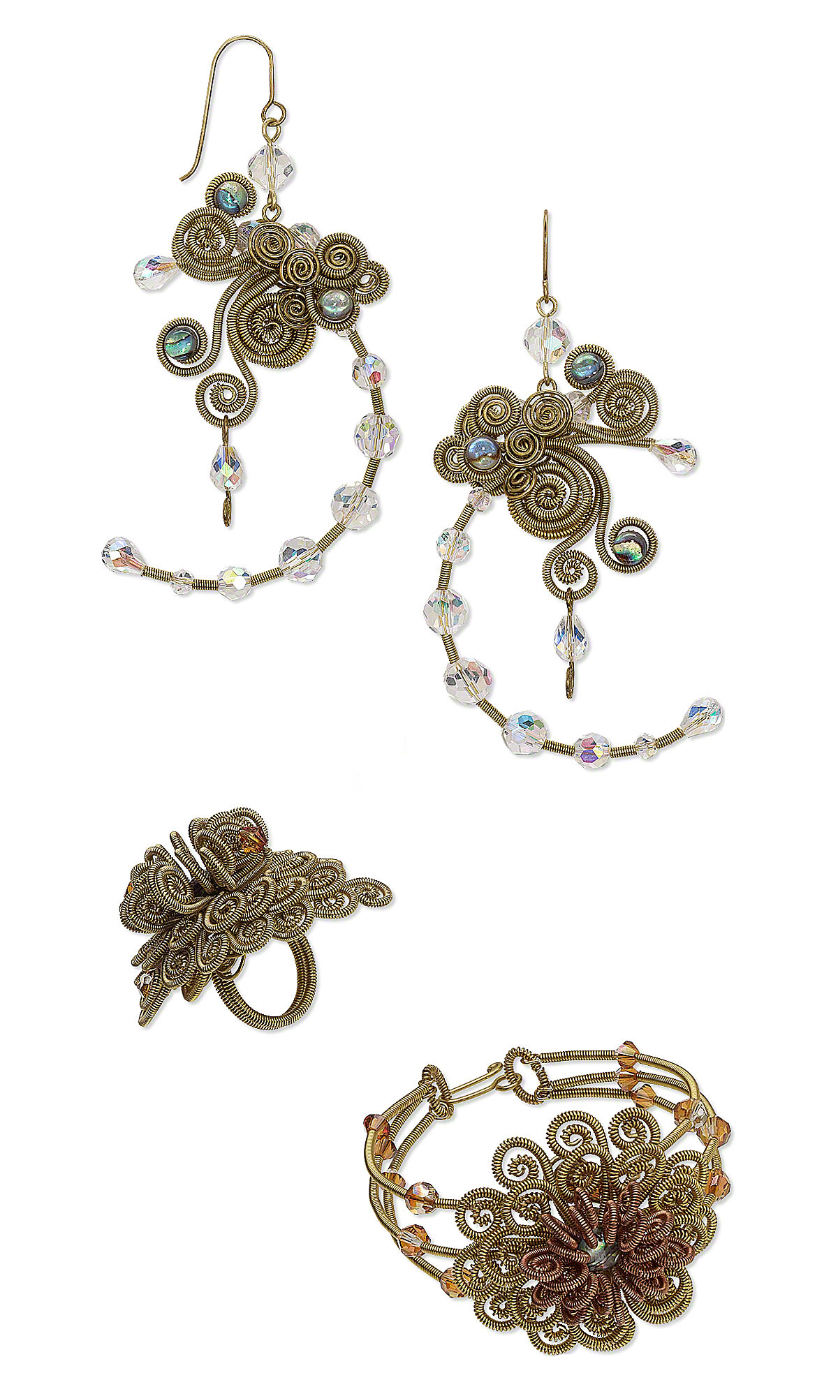 Jewelry Design - Bracelet, Earring and Ring Set with Wire Wrap ...