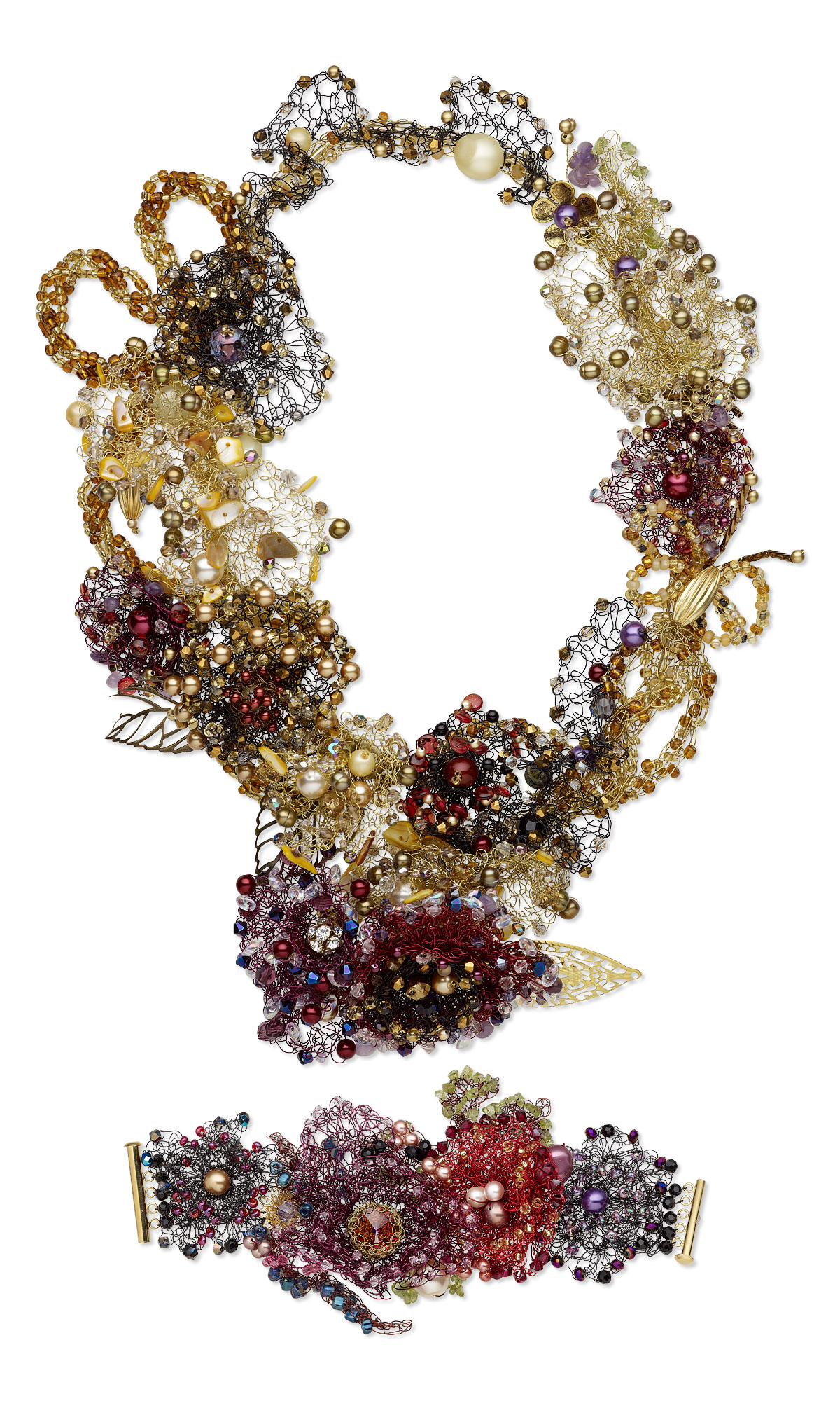 Jewelry Design - Bib-Style Necklace and Bracelet Set with Cultured ...