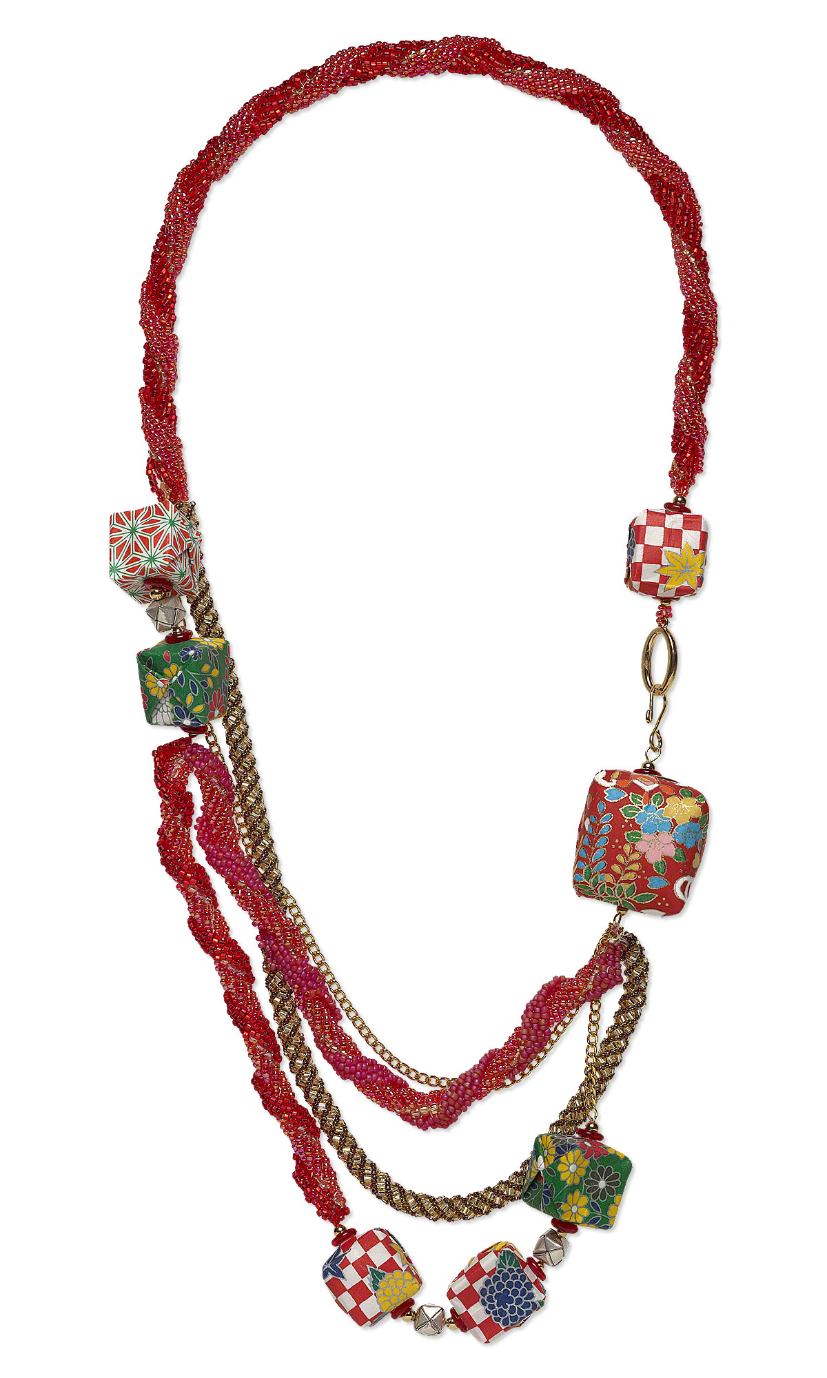 Jewelry Design Multi Strand Necklace With Origami Paper Cube Beads Nut Spring And Seed