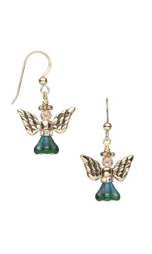 Jewelry Design - Angel Wing Earrings with Antiqued Brass-Plated