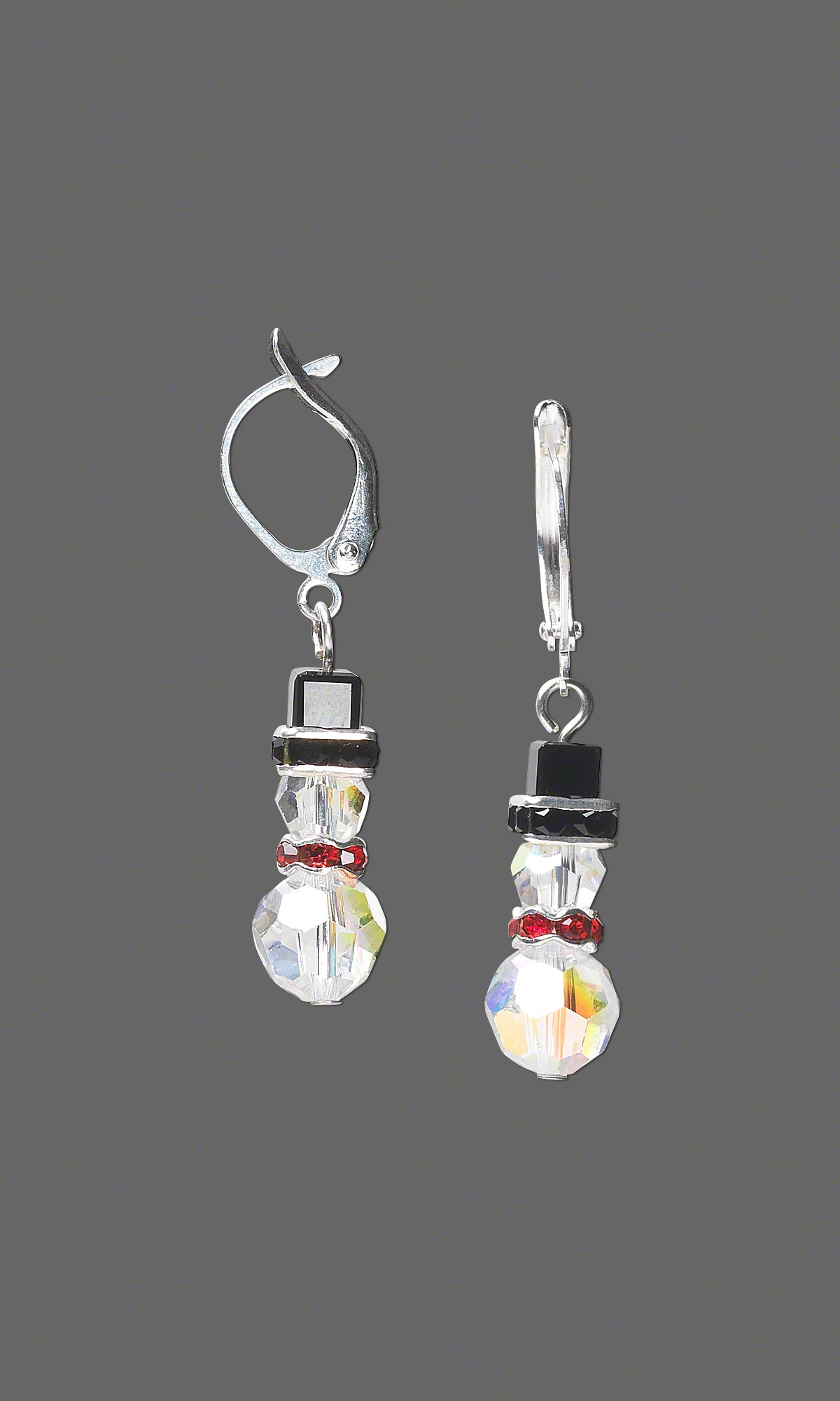 Snowman Earrings With Swarovski Crystal