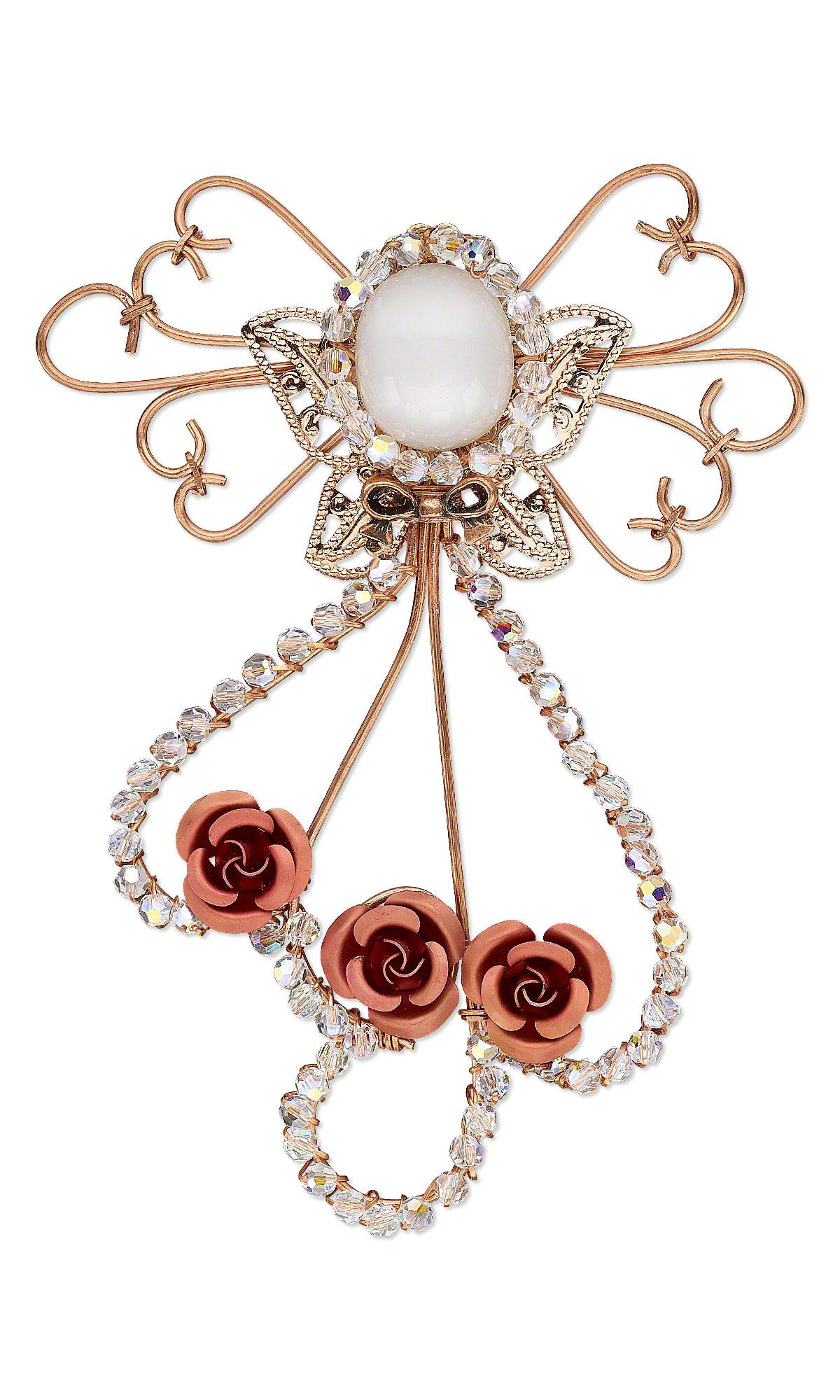Jewelry Design - Angel Pin with Swarovski Crystal Beads, Aluminum ...