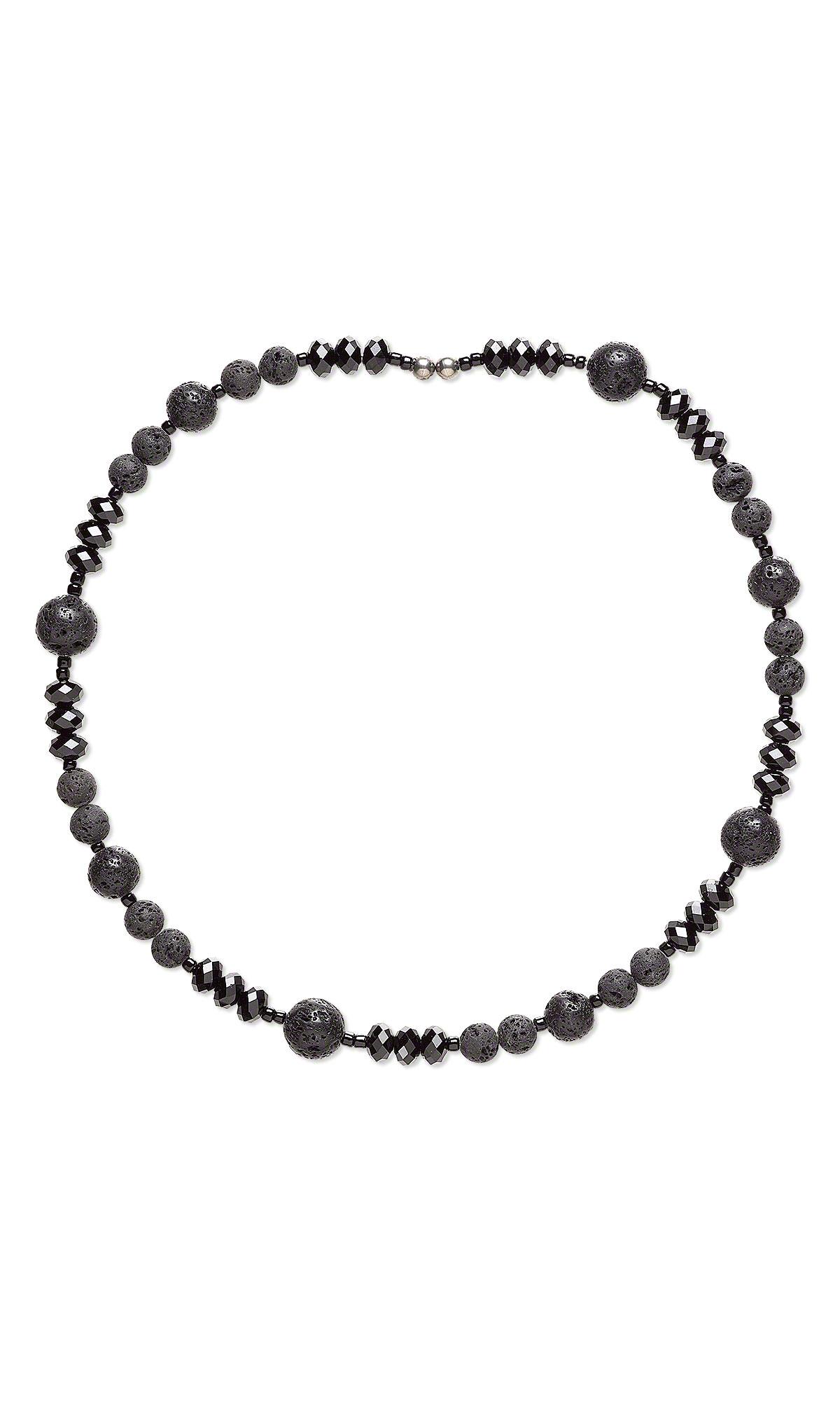 Jewelry Design - Memory Wire Necklace with Swarovski Crystal, Lava ...