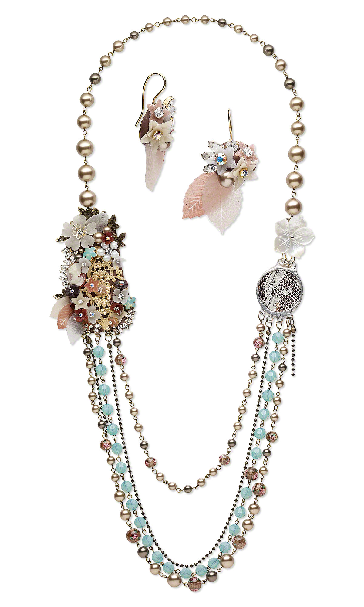 Jewelry Design - Multi-Strand Necklace and Earring Set with ...