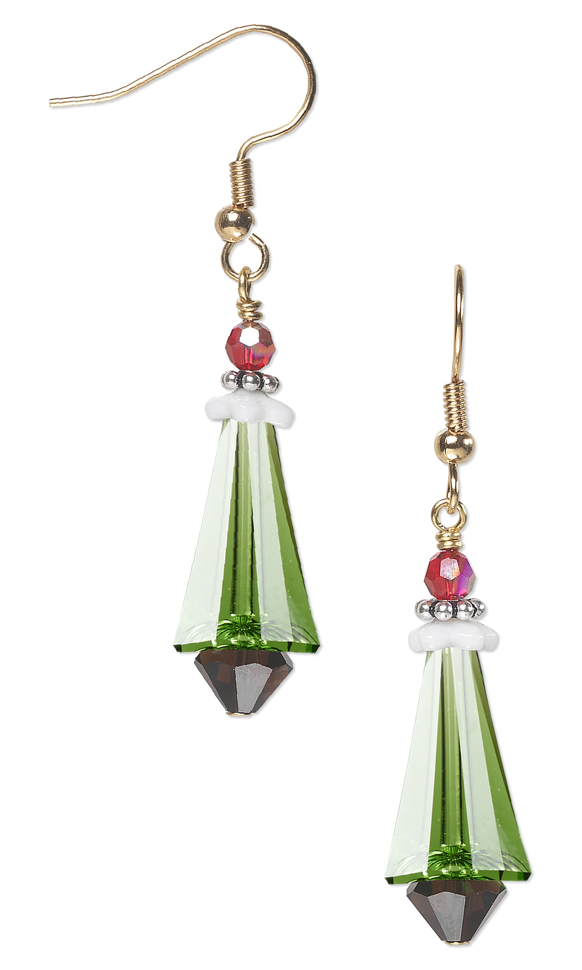 Jewelry design christmas tree earrings with swarovski for Sterling silver christmas jewelry