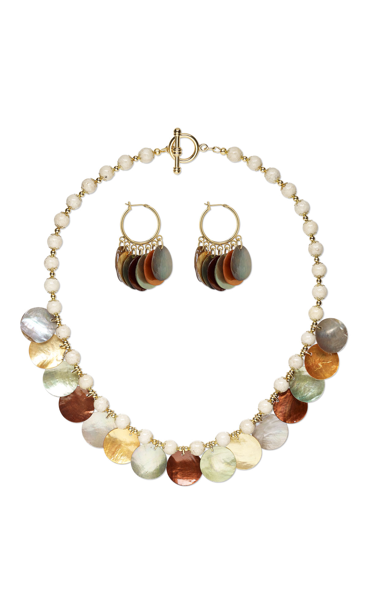 jewelry design single strand necklace and earring set with mussel