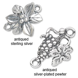 Antiqued Sterling Siler vs. Antiqued Silver-Plated Pewter
