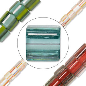 Cane glass beads