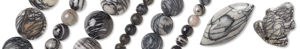 Black Silk Stone Beads and Components