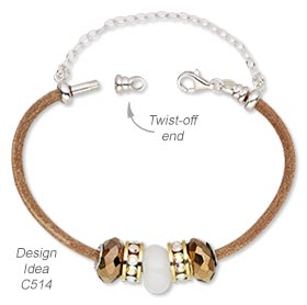 Bracelet with Dione® Large-Hole Beads, Leather Bracelet and Sterling Silver Chain