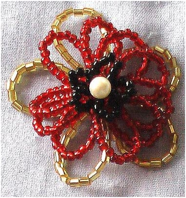 Brooch With Seed Beads