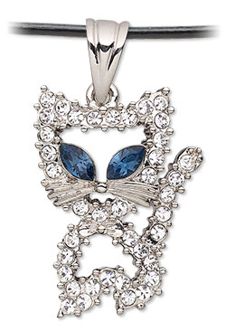 Czech Glass Rhinestone Cat Pendant