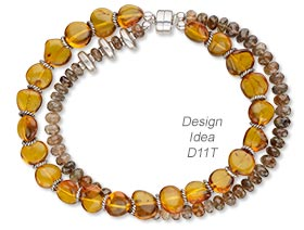 Double-Strand Bracelet with Baltic Amber Gemstone Beads, Andalusite Gemstone Beads and Sterling Silver Beads
