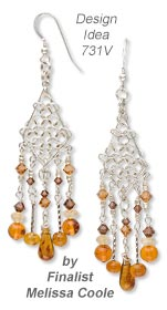 Earrings with Amber Gemstone Beads and Sterling Silver Jumprings and Drops