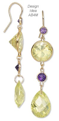 Earrings with Peridot Cubic Zirconia Drops, Amethyst Faceted Gems and 14Kt Wrap-Tite® Gold Link Settings