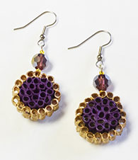 Round Paper And Crystal Earrings