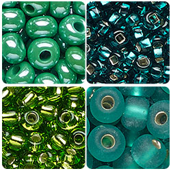 Green and Teal Czech Seed Beads