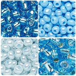 Blue and Turquoise Czech Seed Beads