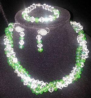 Front View of Donated Necklace, Bracelet and Earring Set