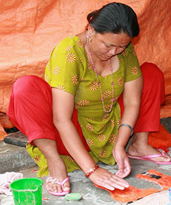 Woman Making Felt