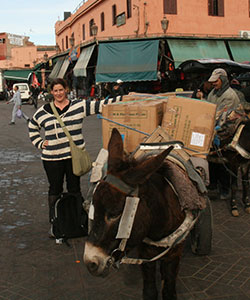Marla Showfer Stands Beside a Trust Donkey Cart