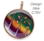 Pendant with Liquid Kato Polyclay™, ICE Resin® and Copper Leaf Sheets