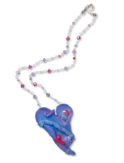 Heart Polymerclay Pendant and Swarovski Crystal Necklace