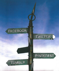 Facebook, Twitter, Pintrest and Tumbler Street Sign