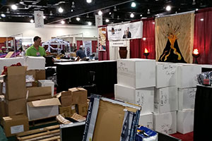 The Fire Mountain Gems and Beads Team Unpacks And Sets Up Our Booth On The Showroom Floor